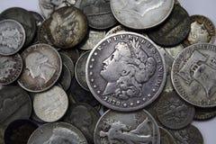 Monedas de plata imagen de archivo