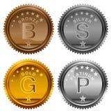 Monedas de plata de bronce del premio del platino del oro stock de ilustración