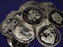 Monedas de plata falsas fotografía de archivo libre de regalías