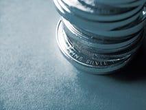 Monedas de plata finas fotos de archivo