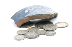 Monedas de plata inglesas viejas Imagen de archivo