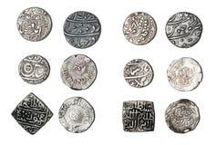 Monedas de plata la India Imagenes de archivo