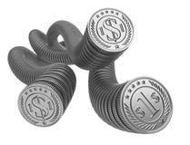 Monedas de plata uno por uno El concepto del dinero de flujo de liquidez Foto de archivo