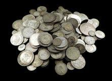 Monedas de plata viejas Imágenes de archivo libres de regalías