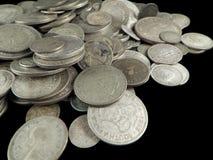 Monedas de plata viejas Imagenes de archivo