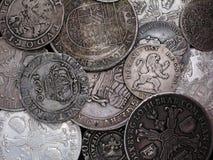 Monedas de plata viejas Foto de archivo libre de regalías
