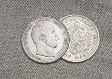 Monedas de plata viejas del Reich alemán imágenes de archivo libres de regalías
