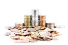 Monedas de plata y de cobre Fotografía de archivo libre de regalías