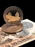 Monedas de RDA (RDA) y de la unión europea. Fotos de archivo
