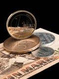 Monedas de RDA (RDA) y de la unión europea. Imagenes de archivo