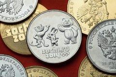 Monedas de Rusia Sochi 2014 olimpiadas de invierno Fotografía de archivo