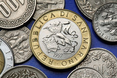 Monedas de San Marino Foto de archivo libre de regalías