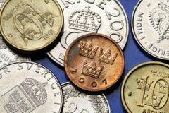 Monedas de Suecia Imágenes de archivo libres de regalías