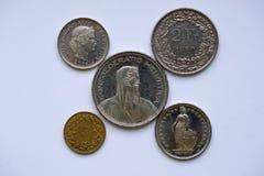 Monedas de Suiza imagen de archivo libre de regalías