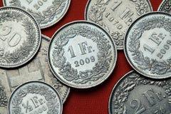 Monedas de Suiza foto de archivo libre de regalías