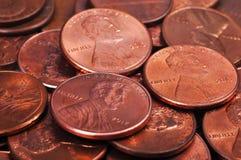 Monedas de un centavo Fotos de archivo libres de regalías