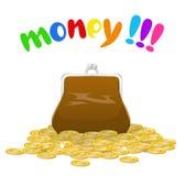 Monedas de un monedero y de oro. Imágenes de archivo libres de regalías
