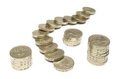 Monedas de una libra Imagen de archivo libre de regalías