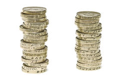 Monedas de una libra Imágenes de archivo libres de regalías