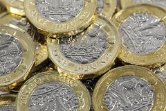 Monedas de una libra - moneda británica Foto de archivo