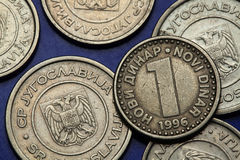 Monedas de Yugoslavia Fotos de archivo