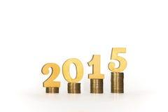 Monedas del año 2015 Fotografía de archivo libre de regalías