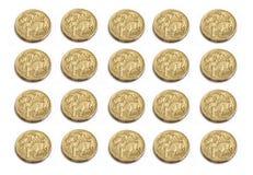 Monedas del dólar australiano Imagen de archivo libre de regalías