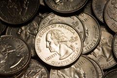 Monedas del dólar cuarto Foto de archivo libre de regalías