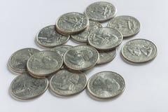 Monedas del dólar cuarto de los E.E.U.U. Foto de archivo libre de regalías