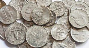 Monedas del dólar cuarto de los E.E.U.U. Imagen de archivo
