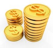 Monedas del dólar del oro Fotos de archivo