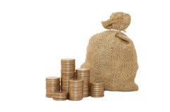 Monedas del dinero en bolso imagen de archivo libre de regalías