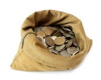 Monedas del dinero en bolso Imagenes de archivo
