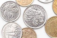 Monedas del dinero en circulación etíope Foto de archivo
