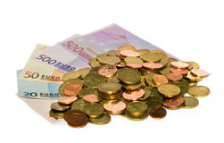 Monedas del dinero en circulación euro Foto de archivo libre de regalías