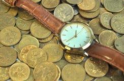 Monedas del dinero del tiempo imagen de archivo libre de regalías
