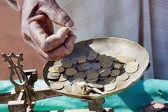 Monedas del dirham marroquí. Foto de archivo libre de regalías