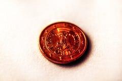 Monedas del efectivo de un centavo euro Imagen de archivo