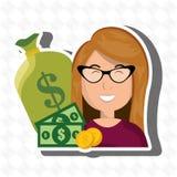 monedas del efectivo del dinero de la mujer libre illustration