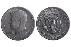 Monedas del medio dólar Imagen de archivo libre de regalías