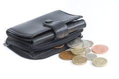 Monedas del negro del monedero De un Reino Unido de la explotación agrícola Fotos de archivo libres de regalías