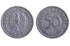 Monedas del Reich de Deutches fotos de archivo