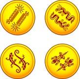 Monedas del vector con los pares animales Fotos de archivo libres de regalías