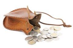 Monedas derramadas Imágenes de archivo libres de regalías