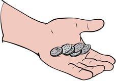 Monedas a disposición Foto de archivo libre de regalías
