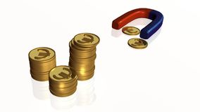 Monedas e imán ilustración del vector
