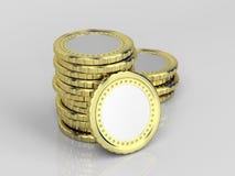 Monedas en blanco Fotos de archivo