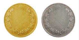 Monedas en blanco viejas Imagenes de archivo
