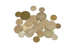 Monedas en el fondo blanco Imagenes de archivo