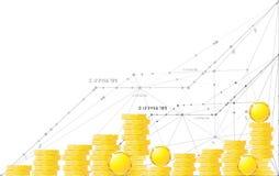 Monedas en extracto aislado fondo blanco del objeto Fotos de archivo